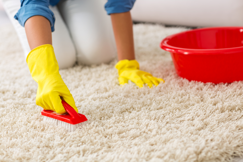 Woman washing carpet with brush at home