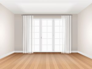 Interior of empty room with big window and curtain. Vector realistic interior.