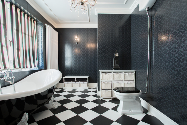 Photo of modern white and black bathroom
