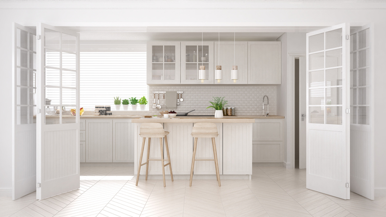 Scandinavian classic kitchen with wooden and white details, aminimalistic interior design