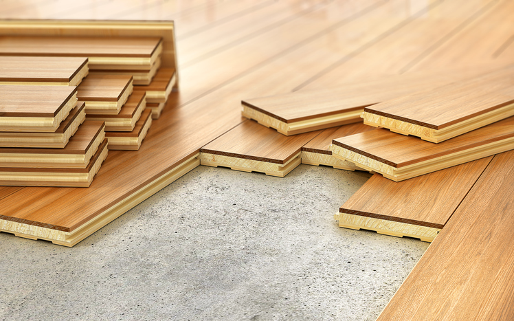 Stack of parquet. Timberwork, lumber work and woodwork industry concept: stacks of wooden timber planks on the wooden floor. 3d illustration