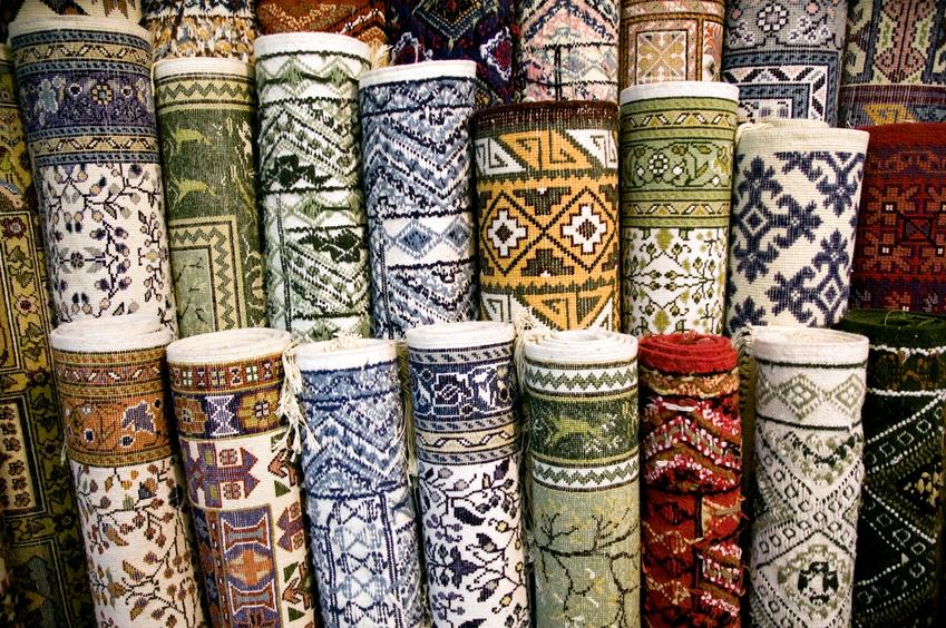 Fabrics texture - lot of original ethnic carpets in rolls