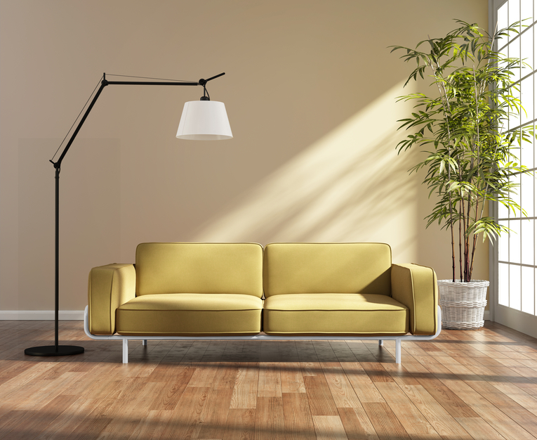 3d Rendering of a living room with a yellow sofa by the window