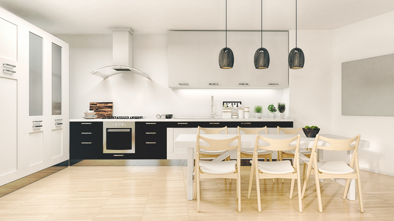 A shoot of modern domestic kitchen. Computer generated image.